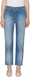 Valentino Blue Straight Leg Rockstud Untitled Jeans