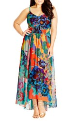 Plus Size Women's City Chic 'Hot Summer Days' Print High Low Maxi Dress