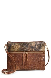 Sondra Roberts Embossed Faux Leather Crossbody Bag Brown