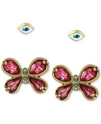 Betsey Johnson Gold Tone 2 Pc. Set Enamel Eye And Crystal Butterfly Stud Earrings