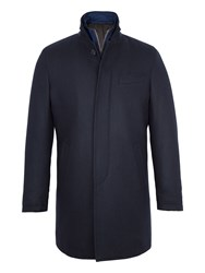 Paul Costelloe Men's Edward Quilted Wool Rich Coat Navy