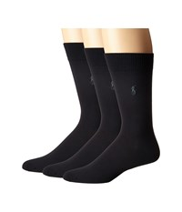 Polo Ralph Lauren 3 Pack Supersoft Flat Knit With Player Embroidery Navy Men's Crew Cut Socks Shoes