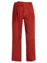 Masscob Frayed Hem Cropped Corduroy Trousers Dark Orange