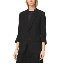 Michael Kors Cropped Sleeve Wool Serge Blazer Black