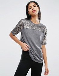 Asos T Shirt With Sequin Yoke In Boxy Fit Silver Multi