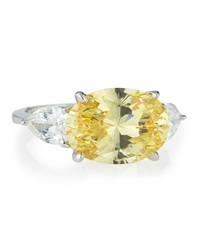 Fantasia Oval Canary Cz Ring 6 1 2