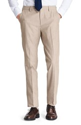 Bonobos Big And Tall Flat Front Solid Cotton Trousers Sand Chambray