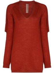 Rick Owens Knitted Distressed Jumper Red
