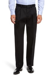 Nordstrom Men's Big And Tall Men's Shop 'Classic' Smartcare Tm Relaxed Fit Double Pleated Cotton Pants Black