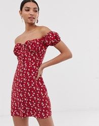 Fashion Union Bardot Mini Dress With Ruched Bust In Floral Red