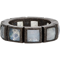 Nak Armstrong Rainbow Moonstone And Oxidized Silver Mosaic Band