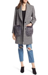 Kendall Kylie Houndstooth Faux Fur Trim Coat Black White
