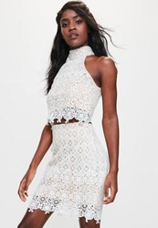 Missguided White High Neck Lace Crop Top