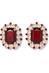 Dolce And Gabbana Gold Tone Crystal Clip Earrings Red