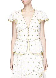 Marc Jacobs Rose Fil Coupe Flutter Sleeve Blouse White