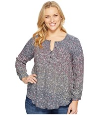 Lucky Brand Plus Size Pintuck Peasant Top Multi Women's Clothing