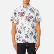 Paul Smith Ps By Men's Casual Fit Large Floral Short Sleeve Shirt White