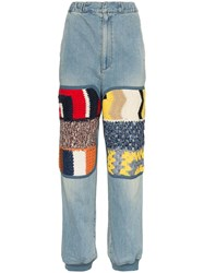 Ambush High Waist Knitted Panel Straight Jeans Blue