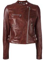Dolce And Gabbana Leather Jacket Brown