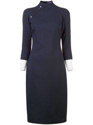 Ralph Lauren Collection Button Detail Shift Dress Blue