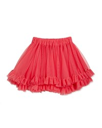 Lili Gaufrette Tiered Ruffle Trim Tulle Skirt Watermelon