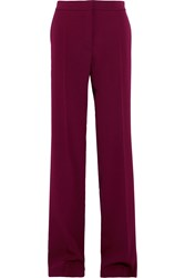 Stella Mccartney Wool Twill Straight Leg Pants Plum Burgundy