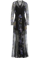 Etro Printed Silk Chiffon Floor Length Dress With Lace Multicolor