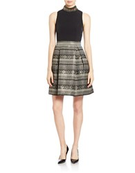 Vince Camuto Tribal Print Fit And Flare Dress Black Gold