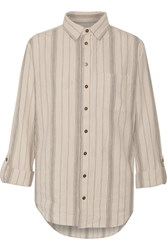 Current Elliott The Prep School Striped Linen And Cotton Blend Shirt White