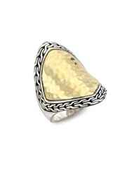 John Hardy Classic Chain Two Tone Hammered Saddle Ring Silver Gold