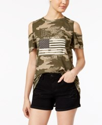 Freeze 24 7 Juniors' Ac Dc Off The Shoulder Graphic T Shirt Camouflage