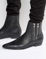 Religion Pistol Double Zip Leather Boots Black