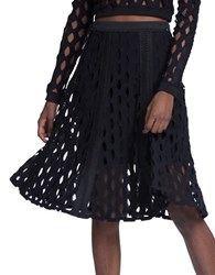 Tracy Reese Black Perforated Flared Skirt