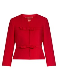 Giambattista Valli Cropped Bow Embellished Crepe Jacket Red