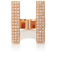 Dauphin White Diamond Cuff Ring Rose Gold