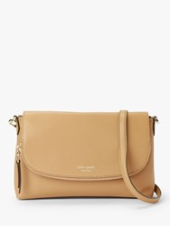 Kate Spade New York Polly Leather Large Flap Over Cross Body Bag Brown