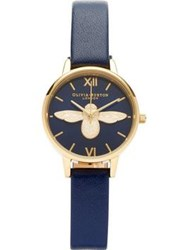 Olivia Burton Moulded Bee Midi Dial Watch Navy Gold Navy Gold