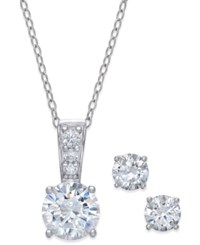 Giani Bernini 2 Pc. Set Cubic Zirconia Stud Earring And Pendant Necklace In Sterling Silver Only At Macy's