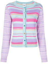 Michel Klein Button Striped Cardigan Pink And Purple