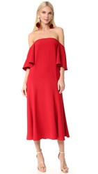 Edit Off Shoulder Flute Sleeve Dress Red