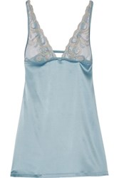 La Perla Clio Lace Paneled Silk Satin Chemise Light Blue