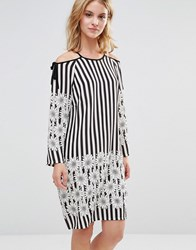 Style London Dress With Tie Shoulder In Floral Stripe Print Black White