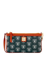 Dooney And Bourke Sports Large Raiders Wristlet Black