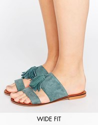 Asos Forgiven Wide Fit Suede Tassle Mules Teal Blue