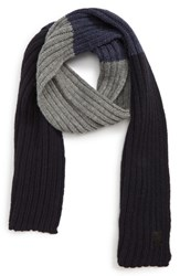 Canada Goose Colorblock Ribbed Wool Scarf Navy