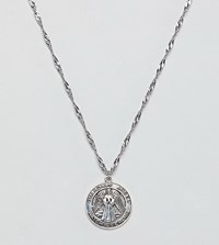Regal Rose Sterling Silver Plated Guardian Angel Medallion Pendant Necklace