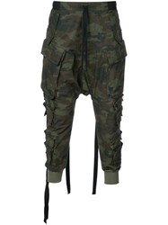 Unravel Project Tapered Camouflage Trousers Cotton Green
