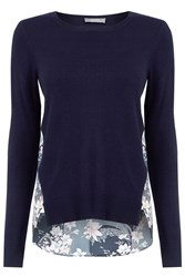 Oasis Lotus Knot Back Printed Knit Navy