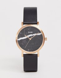 Cluse La Roche Marble Black And Rose Gold Leather Watch