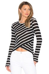 Splendid Stripe Crossfront Top Black